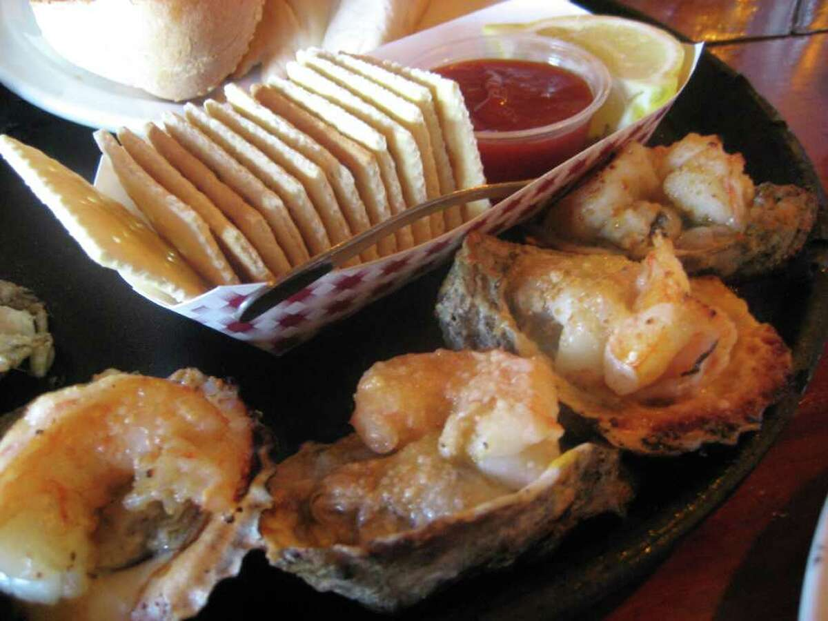 Grilled oysters topped with shrimp at Gilhooley's