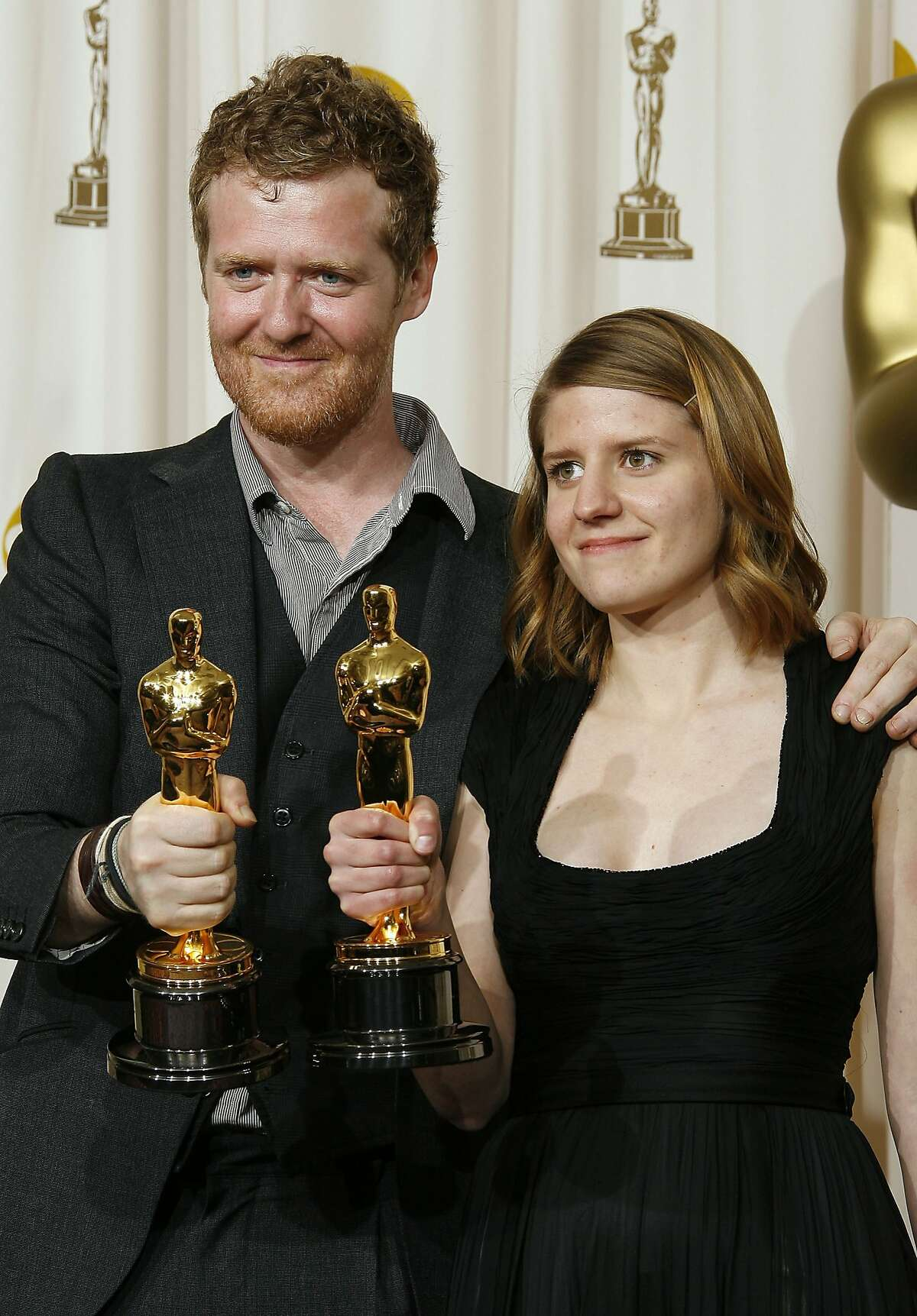 80th Annual Academy Awards - Songwriters Glen Hansard (L) and Marketa Irglova, winners of the award Achievement In Music Written For Motion Pictures (Original song) for 'Falling Slowly' from 'Once'. HOLLYWOOD - FEBRUARY 24: ***NO ONLINE, NO INTERNET, EMBARGOED FROM INTERNET AND TELEVISION USAGE UNTIL THE CONCLUSION OF THE LIVE OSCARS TELECAST*** Songwriters Glen Hansard (L) and Marketa Irglova, winners of the award Achievement In Music Written For Motion Pictures (Original song) for 'Falling Slowly' from 'Once' (Fox Searchlight) pose in the press room during the 80th Annual Academy Awards held at the Kodak Theatre on February 24, 2008 in Hollywood, California. (Photo by Vince Bucci/Getty Images)