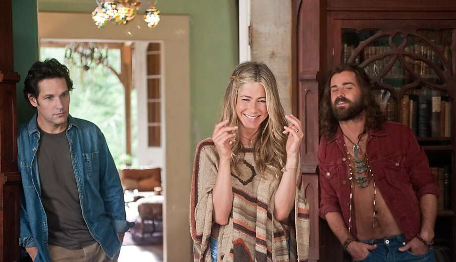 "Jennifer Aniston and Justin Theroux both starred in ""Wanderlust"" and started dating in May 2001. Here is a scene from the movie: (L to R) George (Paul Rudd), Linda (Jennifer Aniston) and Seth (Justin Theroux) at Elysium in ""Wanderlust"". Photo: Gemma La Mana, Universal Pictures"