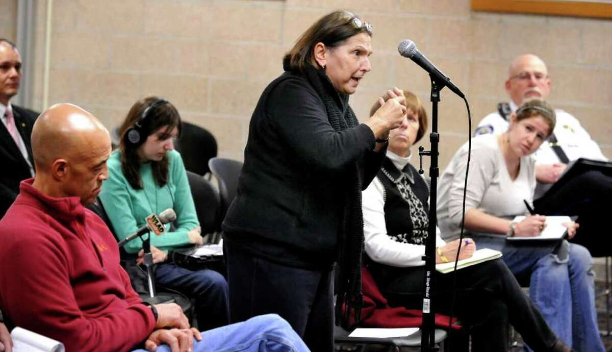Polly McGarry speaks before the White Street Task Force, blaming the third lane for increasing the danger for pedestrians crossing White Street in Danbury. The public hearing was held at the Western Connecticut State University's midtown campus Thursday, Feb. 23, 2012.