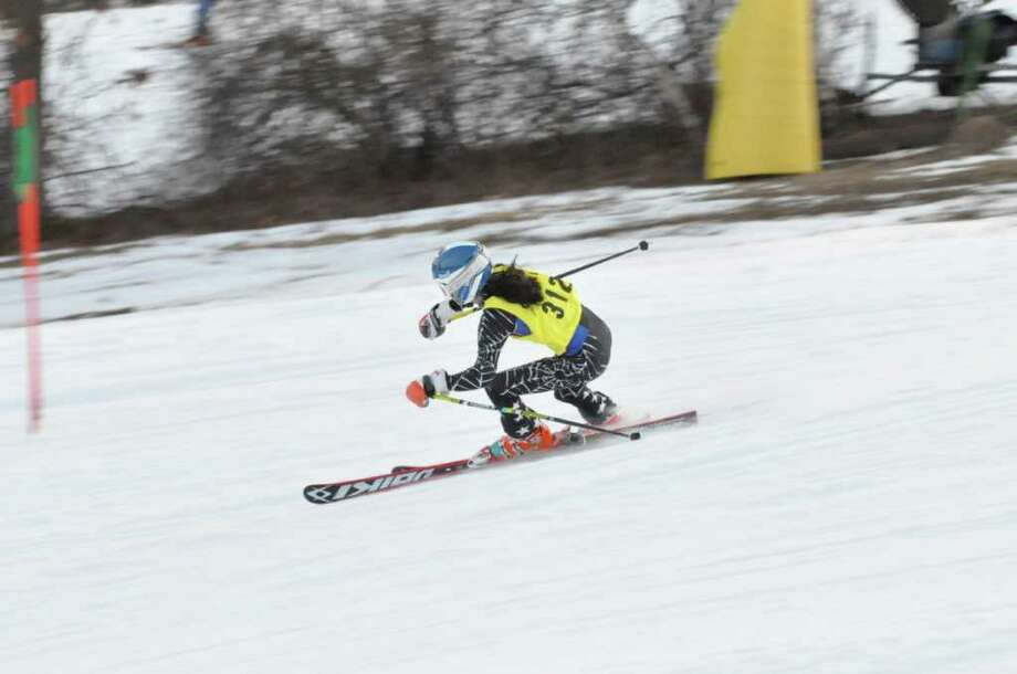 Staples' Jacqueline Chappo, in action earlier this year, was the top Lady Wrecker finisher Feb. 8 with combined runs of 52.05, placing eighth overall. Chappo will play a role Wednesday, Feb. 29 in Staples' quest to win the State Open title. Photo: Mike Corbally / Contributed Phot