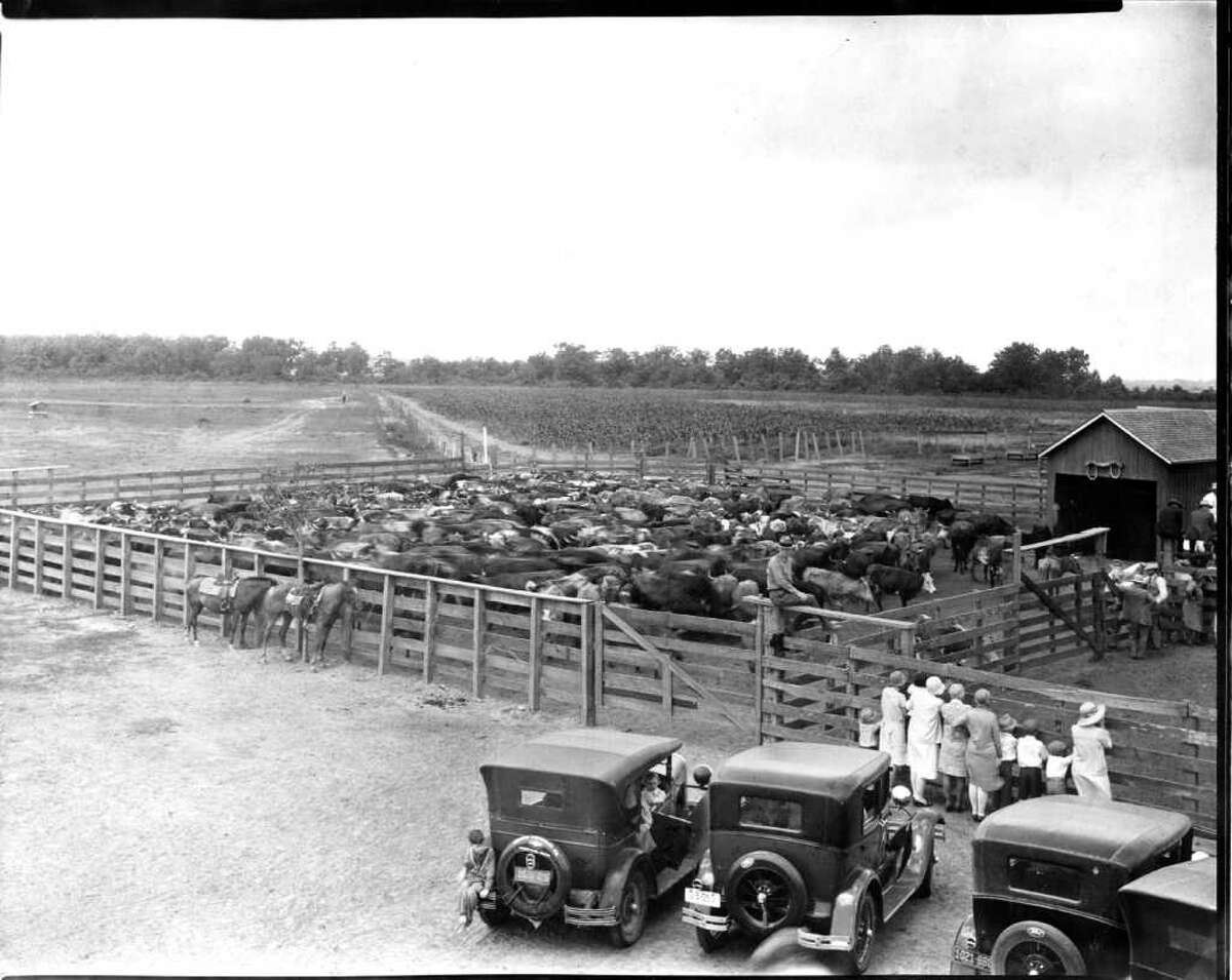 In the late '20s and '30s, tourists from other states came to the LH7 Ranch to see real Texas cowboys. (This photo is from 1928.)