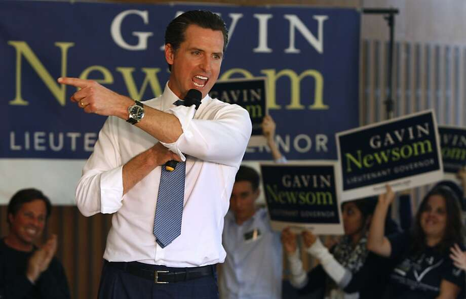 Gavin Newsom, the Democratic candidate for Lieutenant Governor, urges Cal students to vote during a campaign rally at UC Berkeley on Friday, Oct. 29, 2010. Photo: Paul Chinn, The Chronicle