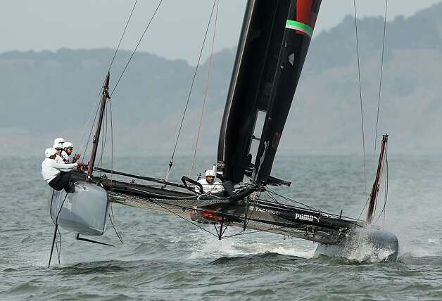 SAN FRANCISCO, CA - FEBRUARY 21:  An Oracle Racing AC45 skippered by James Spithill practices in the San Francisco Bay on February 21, 2012 in San Francisco, California. The AC45 is the forerunner to the AC72, which teams will race in the Louis Vuitton Cup and America's Cup finals in 2013 in San Francisco. The AC45 will be featured at the America's Cup World Series.  (Photo by Ezra Shaw/Getty Images) Photo: Ezra Shaw, Getty Images