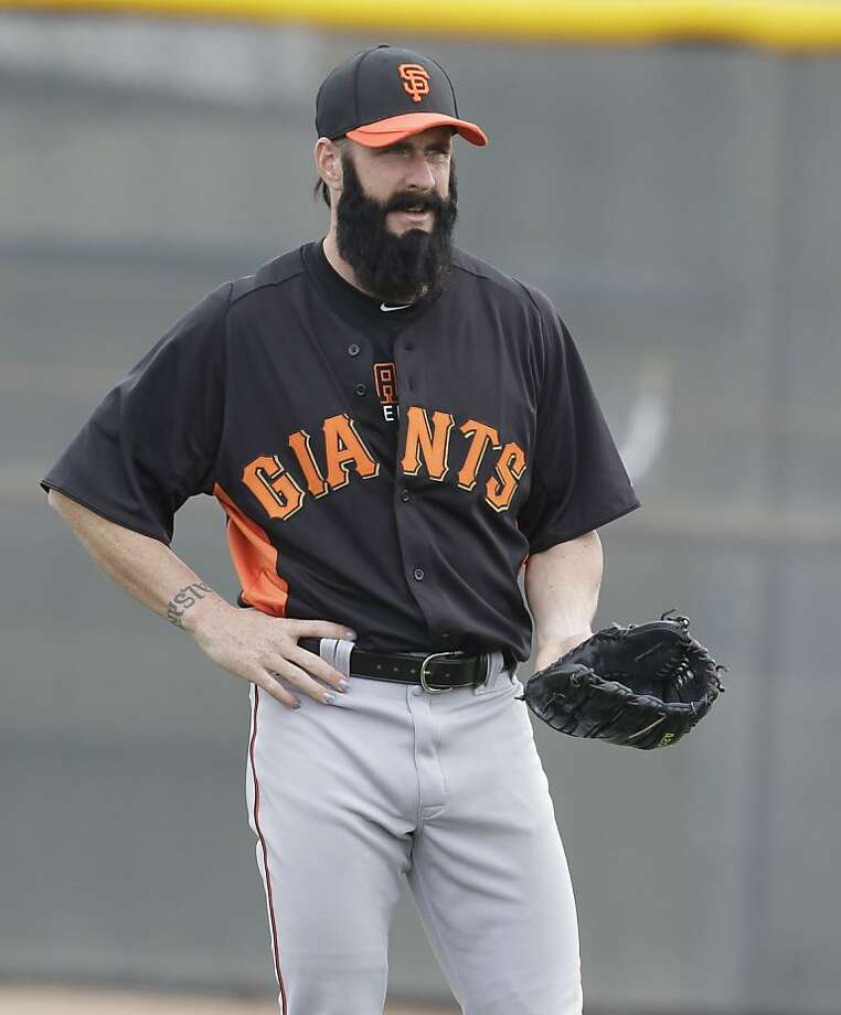 San Francisco Giants' Brian Wilson during a spring training baseball workout Sunday, Feb. 19, 2012, in Scottsdale, Ariz. (AP Photo/Darron Cummings) Photo: Darron Cummings, Associated Press