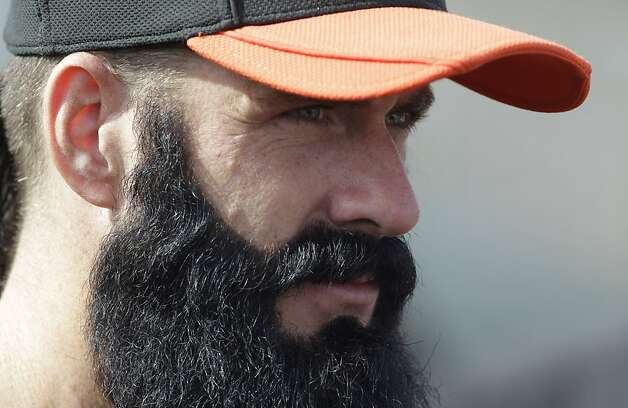 San Francisco Giants' Brian Wilson during a spring training baseball workout Wednesday, Feb. 22, 2012, in Scottsdale, Ariz. (AP Photo/Darron Cummings) Photo: Darron Cummings, Associated Press