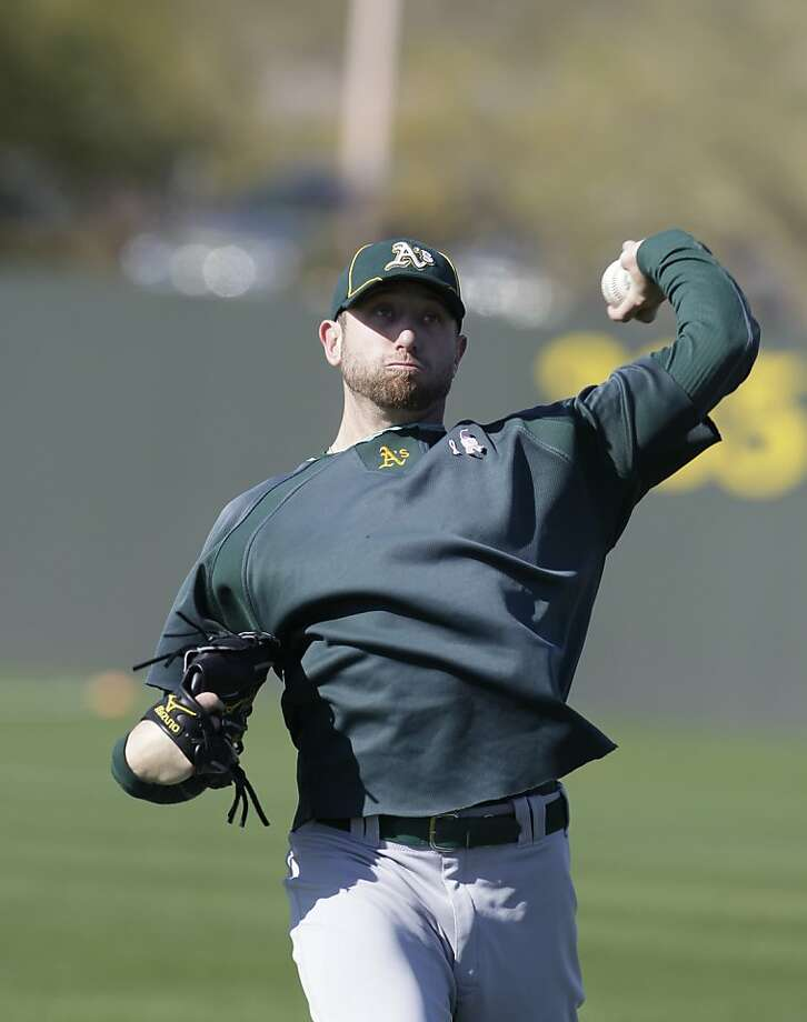 Oakland Athletics' Dallas Braden during a spring training baseball workout Tuesday, Feb. 21, 2012, in Phoenix. (AP Photo/Darron Cummings) Photo: Darron Cummings, Associated Press