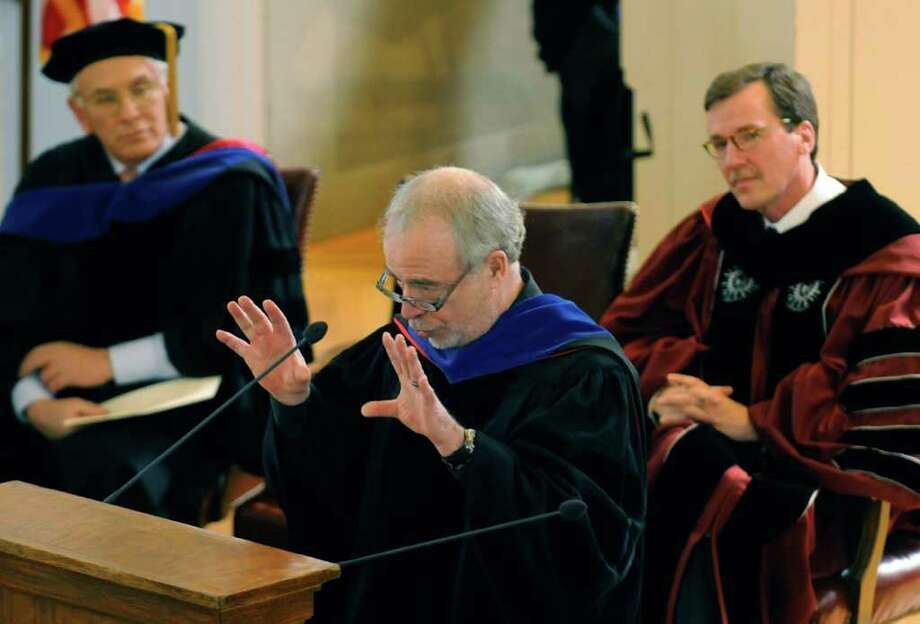 Gloversville native and Pulitzer Prize-winning novelist Richard Russo,center, delivers the keynote address at Founders Day at Union College in Schenectady, N.Y. Thursday Feb.23, 2012. ( Michael P. Farrell/Times Union) Photo: Michael P. Farrell