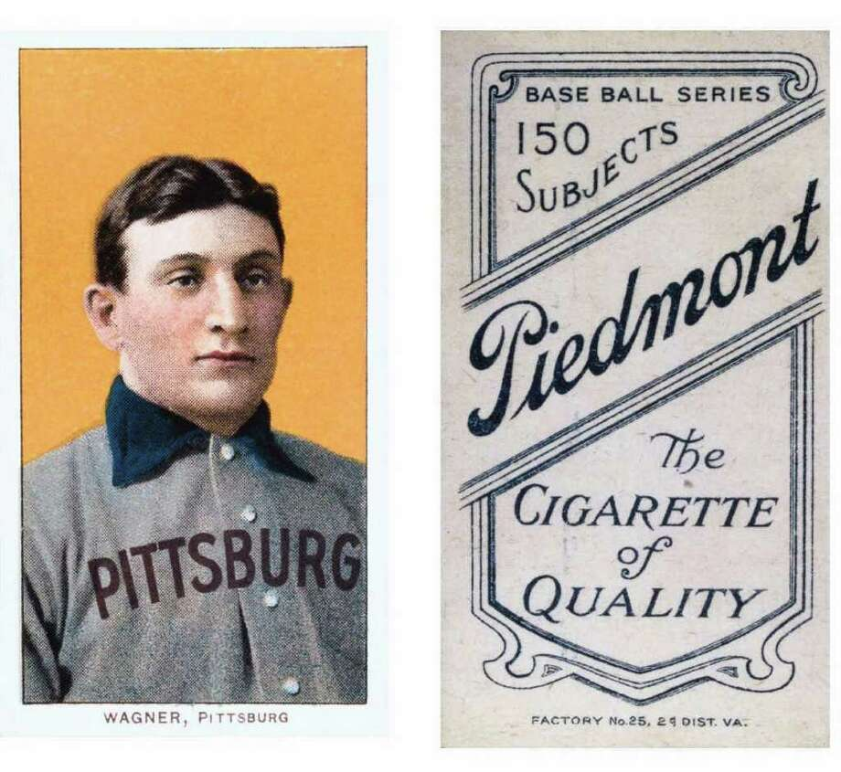 (GANNETT PHOTO NETWORK) SPORTSCARDS: An auction on ebay.com brought $1.1 million for this legendary Honus Wagner baseball trading card. The card was included in a set produced in 1909 by the American Tobacco Company for Piedmont Cigarettes. Ironically, Wagner was adamantly opposed to tobacco. (GNS Photo)