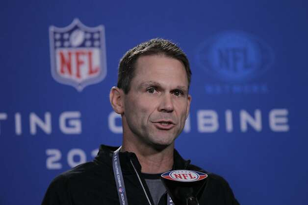San Francisco 49ers general manager Trent Baalke speaks during a news conference at the NFL football scouting combine in Indianapolis, Thursday, Feb. 23, 2012. (AP Photo/Michael Conroy) Photo: Michael Conroy, Associated Press