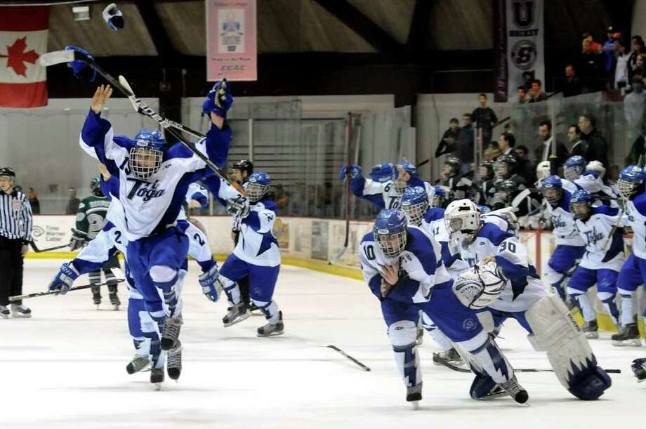 Saratoga's bench takes the ice as they celebrate their 5-1 victory over Shenendehowa for the Section II hockey title on Thursday, Feb. 23, 2012, at Union College in Schenectady, N.Y. (Cindy Schultz / Times Union) Photo: Cindy Schultz / 00016550A