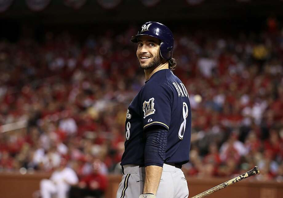 ST LOUIS, MO - FILE:  Ryan Braun  #8 of the Milwaukee Brewers smiles during Game Four of the National League Championship Series against the St. Louis Cardinals at Busch Stadium on October 13, 2011 in St Louis, Missouri. Ryan Braun of the Milwaukee Brewers was named the National League Most Valuable Player on November 22, 2011.  (Photo by Christian Petersen/Getty Images) Photo: Christian Petersen, Getty