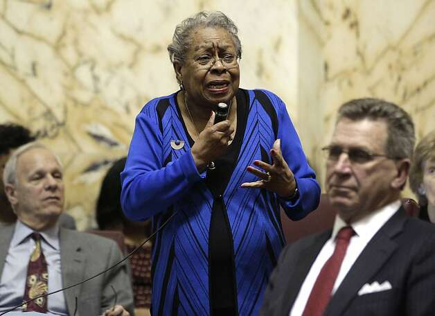 Sen. Delores Goodwin Kelley, D-Baltimore County, center, speaks during a debate on a gay marriage bill in Annapolis, Md., Thursday, Feb. 23, 2012. The Senate approved the bill, and Gov. Martin O'Malley is expected to sign it next week. Photo: Patrick Semansky, Associated Press