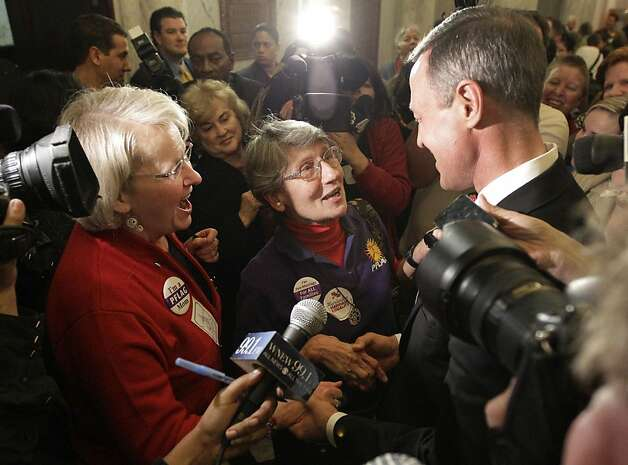 Judy Gaver, left, and June Horner, mothers of openly gay sons who reside in Maryland, speak with Maryland Gov. Martin O'Malley in Annapolis, Md., Thursday, Feb. 23, 2012, after the Senate approved a gay marriage bill. Photo: Patrick Semansky, Associated Press