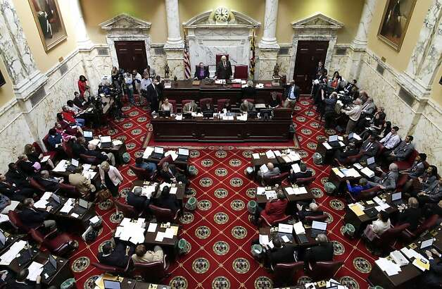 "Maryland Senate President Thomas V. ""Mike"" Miller, standing at top center, oversees activity in the Senate chambers in Annapolis, Md., Thursday, Feb. 23, 2012, where the Senate is expected to vote on a gay marriage bill Thursday. Photo: Patrick Semansky, Associated Press"