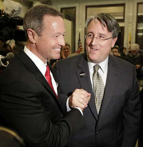Maryland Gov. Martin O'Malley, left, embraces Sen. Richard Madaleno, D-Montgomery, an openly gay member of the state Senate, in Annapolis, Md., Thursday, Feb. 23, 2012, after the Senate approved a gay marriage bill. Gay marriage is all but legalized in Maryland with the legislature giving its final OK to the law that is awaiting the expected signature of the governor. Photo: Patrick Semansky, Associated Press
