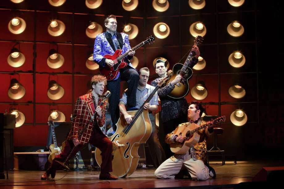 Million Dollar Quartet is based on the day four rock pioneers, including Elvis Presley and Johnny Cash, meet in a famed studio. It is full of well-known songs such Hound Dog and Blue Suede Shoes. Photo: Jeremy Daniel