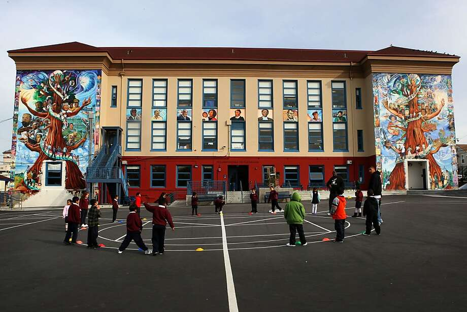 A hundred years ago,  Cleveland elementary school  buried a copper box time capsule in the building's cornerstone, located in lower left corner  of  Cleveland elementary school in San Francisco, Calif., as students have physical education on Tuesday, November 30, 2010. Photo: Liz Hafalia, The Chronicle