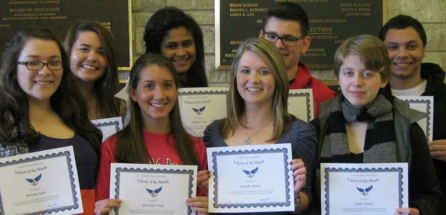 Fairfield Ludlowe High School students named Falcons of the Month for January were cited for taking advantage of opportunities to broaden their horizons. Pictured with their certificates are, from left, Brittany Smith, Rachel Finlaw, Alexandra Nick, Ashley Crowe, Danielle Malone, Garrett Bond, Campbell Habetz and Sebastien Pitches. Honored but absent from the photo were Will Dailey, Amir Naeem and Sam Bednarski. Photo: Contributed Photo