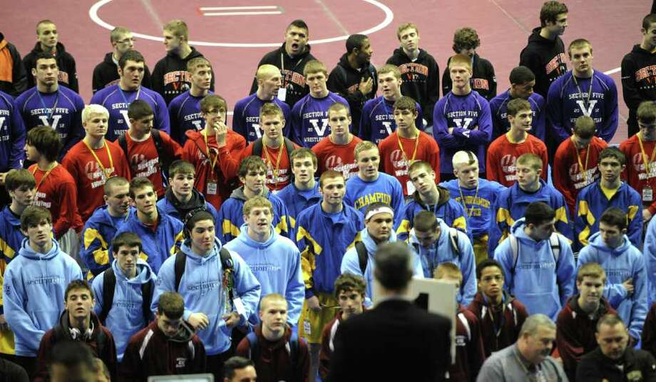 Athletes from across the state gather for the opening ceremonies of the NYSPHSAA Wrestling State Championships which commenced today at the Times Union Center in Albany, N.Y. Feb. 24, 2012.        ( Skip Dickstein / Times Union) Photo: Skip Dickstein / 2011