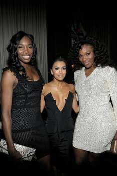 HOLLYWOOD, CA - FEBRUARY 23:  Professional tennis players Venus Williams (L), Serena Williams and Actress Eva Longoria (C) attend the Vanity Fair and Chrysler celebration of The Eva Longoria Foundation hosted by Eva Longoria on Thursday, February 23 at Beso Hollywood.  (Photo by Charley Gallay/Getty Images for VF) (Charley Gallay / 2012 Getty Images)