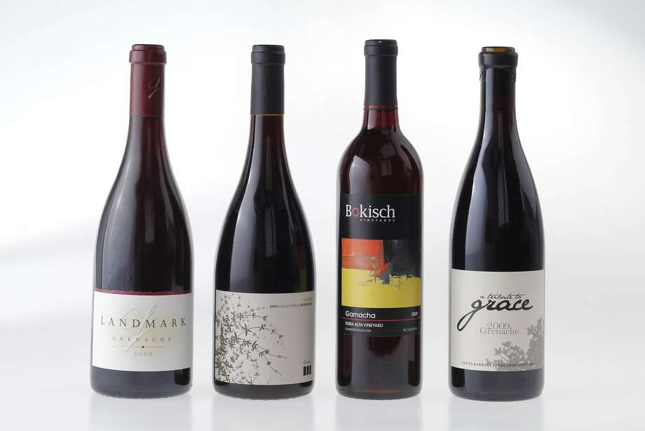 2009 Landmark Grenache (from left), 2009 Broc Cassia Grenache, 2009 Bokisch Terra Alta Vineyard Garnacha, 2009 A Tribute to Grace Grenache. Photo: Craig Lee, Special To The Chronicle