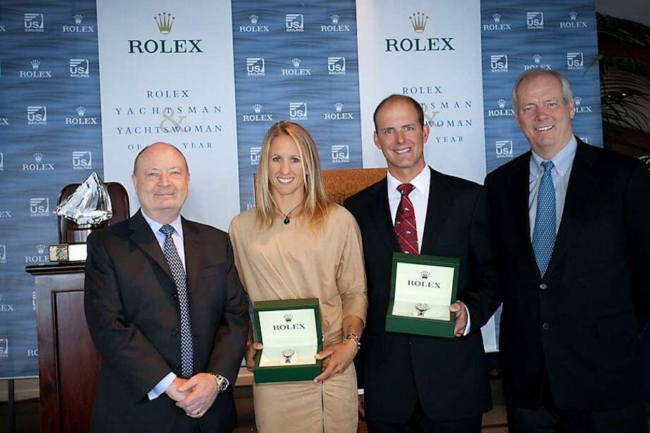 (from left) Rolex Watch U.S.A. s President and CEO Stewart Wicht, 2011 Rolex Yachtswoman of the Year Anna Tunnicliffe (Plantation, Fla.), 2011 Rolex Yachtsman of the Year Bill Hardesty (San Diego, Calif.), US Sailing President Gary Jobson. Tunnicliffe and Hardesty hold specially engraved stainless steel and platinum Rolex Oyster Perpetual Yacht-Masters presented as part of the award. Photo: Tom O Neal/Rolex