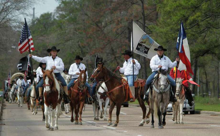 Trail Riders arrive at Memorial Park on Friday, Feb. 24, 2012, in Houston.  More than 3,000 trail riders will camp one last night at Memorial Park before Saturday's Downtown Rodeo Parade. Photo: Mayra Beltran, Houston Chronicle / © 2012 Houston Chronicle
