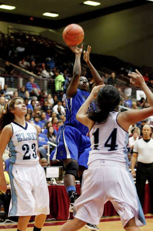 Clear Springs forward, Aaliyah Brown, 20, shoots the ball, during the Class 5A, Region III semifinal girls high school basketball game between Elsik High School and Clear Springs High School, Friday, February 24, 2012 at the Aldine Campbell Center in Houston, Texas. Elsik won 43 - 40, to on to the region final on Saturday. Photo: TODD SPOTH, For The Chronicle / Todd Spoth