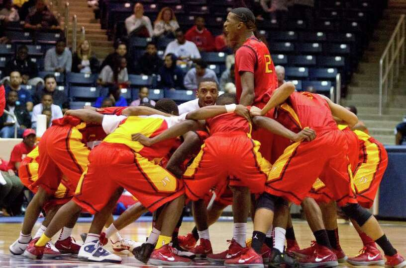 2/24/12: Melvin Swift #12 of Yates Lions gets his team fired up before playing against the Manvel Ma