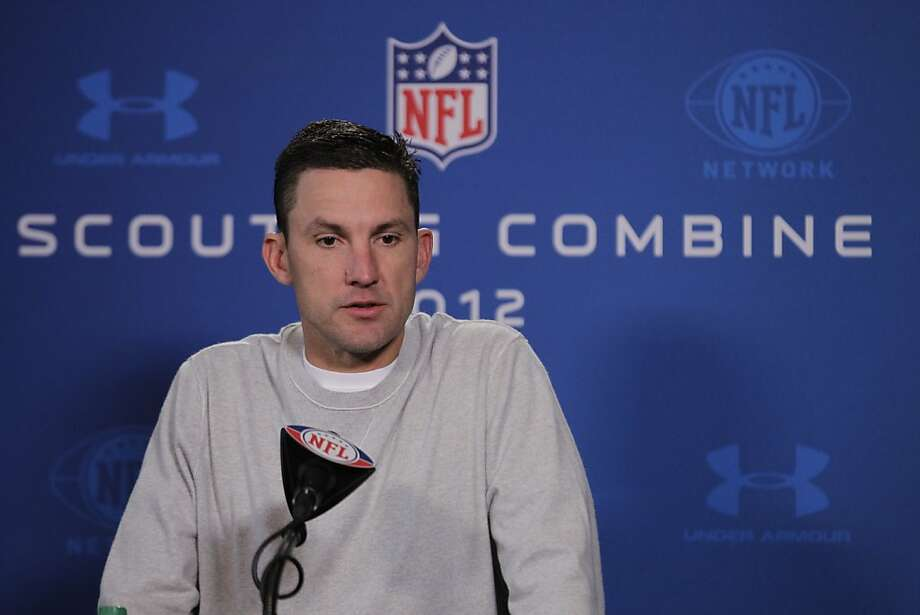 Oakland Raiders head coach Dennis Allen speaks during a news conference at the NFL football scouting combine in Indianapolis, Friday, Feb. 24, 2012. (AP Photo/Michael Conroy) Photo: Michael Conroy, Associated Press