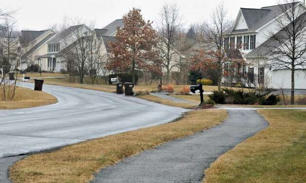 Sidewalk/ bike path along Hasgate Drive in Bethlehem Thursday Feb. 16, 2012.   (John Carl D'Annibale / Times Union) Photo: John Carl D'Annibale