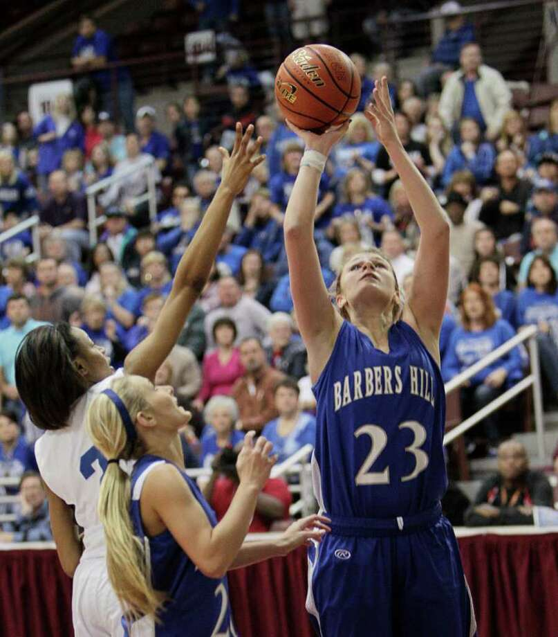 Barbers Hill's Kaylee Kana #23 scores on a short jumper during the Region III 4A girls basketball finals between Barbers Hill and Beaumont Ozen at the M.O. Campbell Center Feb.  25, 2012 in Houston, Tx. Photo: Bob Levey, Houston Chronicle / ©2012 Bob Levey
