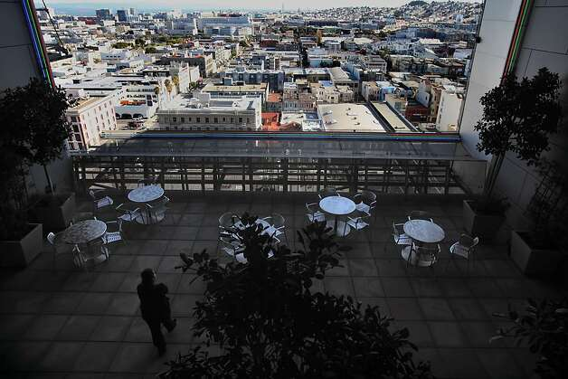 The 11th floor skygarden in the San Francisco Federal Building has a remarkable view of South of Market, but there's no sign announcing it on 7th Street and there's a security checkpoint at the building's entrance. Photo: Liz Hafalia, The Chronicle