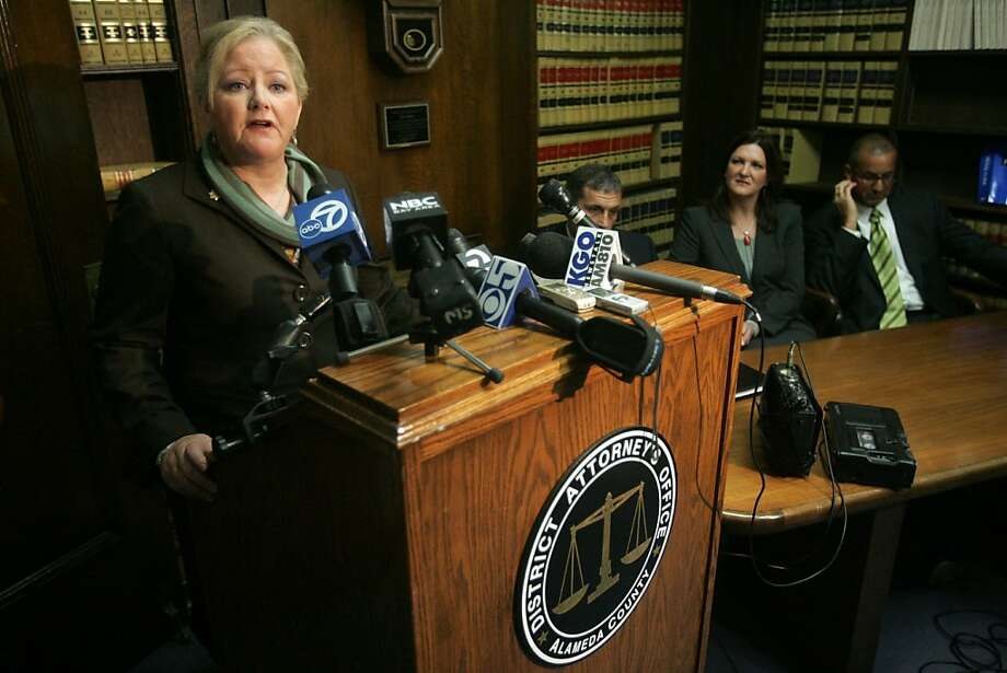 District Attorney Nancy O'Malley answers a question during a news conference after a jury convicted Yusuf Bey IV and Antoine Mackey of first degree murder of Bailey on Thursday, June 9, 2011 at the Alameda County Courthouse in Oakland, Calif. Photo: Mathew Sumner, Special To The Chronicle