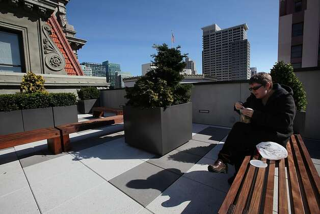 Pam Kurz having wonton soup for lunch on top of the roof terrace at One Kearney in San Francisco, Calif., Thursday, February 16, 2011. Photo: Liz Hafalia, The Chronicle