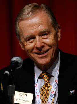 "NEW ORLEANS - NOVEMBER 06:  Former California Governor Pete Wilson speaks a a press conference on Museum expansion and ""Beyond All Boundaries"" 4-D cinematic experience at the National World War II Museum on November 6, 2009 in New Orleans, Louisiana.  (Photo by Sean Gardner/Getty Images)"