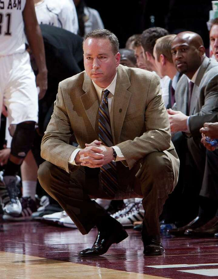 Texas A&M head coach Billy Kennedy looks on from the bench during the first half of an NCAA college basketball game against Louisiana-Monroe on Dec. 10. Photo: Bob Levey / FR156786 AP