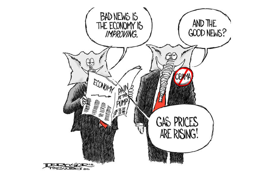 GOP mourns economic rebound, rejoices in higher gas prices as it hopes to unseat Obama. Photo: John De Rosier