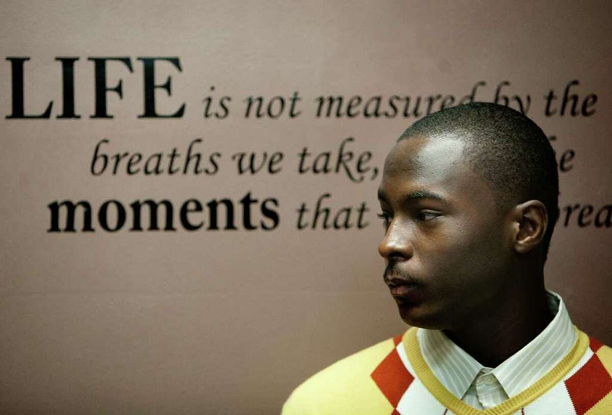 A juvenile that could not be named listens to a speaker during an Operation Outreach OG1 meeting at Rodney F. Bryd Funeral Directors Saturday, Feb. 25, 2012, in Houston. The organization aims to deter juveniles from gangs and crime-related activities that lead to prison.