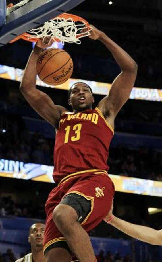 Cleveland Cavaliers' Tristan Thompson (13), of Team Shaq, dunks the ball during the NBA All-Star Rising Stars Challenge basketball game in Orlando, Fla. Friday, Feb. 24, 2012. (AP Photo/Chris O'Meara) (AP)