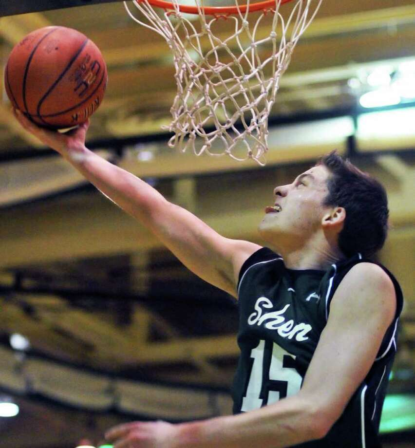 Shen's #15 Brendan Gulry goes to the basket during their Class AA boys' basketball quarterfinal game against CBA at the McDonough Complex in Troy Saturday Feb. 25, 2012.   (John Carl D'Annibale / Times Union) Photo: John Carl D'Annibale / 00016563A