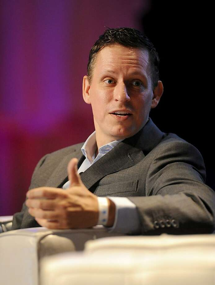 Peter Thiel, chairman of Clarium Capital Management LLC, speaks at the TechCrunch Disrupt conference in San Francisco, California, U.S., on Monday, Sept. 27, 2010. Thiel, a Facebook Inc. investor and board member, plans to make 20 grants of as much as $100,000 apiece to teenagers who have promising ideas for technology businesses. Photo: Noah Berger, Bloomberg News