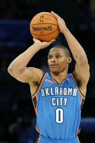 Oklahoma City Thunder's Russell Westbrook (0) participates in the NBA All-Star Skills Challenge basketball competition in Orlando, Fla., Saturday, Feb. 25, 2012. (AP Photo/Lynne Sladky) (AP) / SA