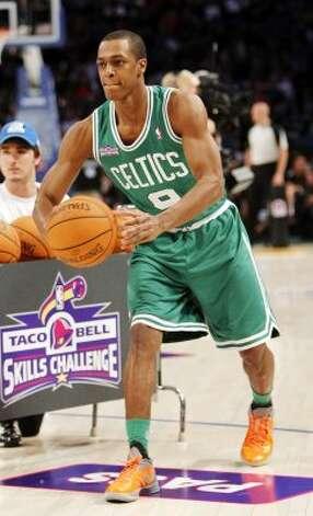 Boston Celtics' Rajon Rondo participates in the NBA All-Star Skills Challenge basketball competition in Orlando, Fla., Saturday, Feb. 25, 2012. (AP Photo/Lynne Sladky) (AP) / SA