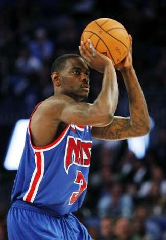 New Jersey Nets' Anthony Morrow shoots during the NBA All-Star Three-Point Shootout basketball competition in Orlando, Fla., Saturday, Feb. 25, 2012. (AP Photo/Lynne Sladky) (AP) / SA