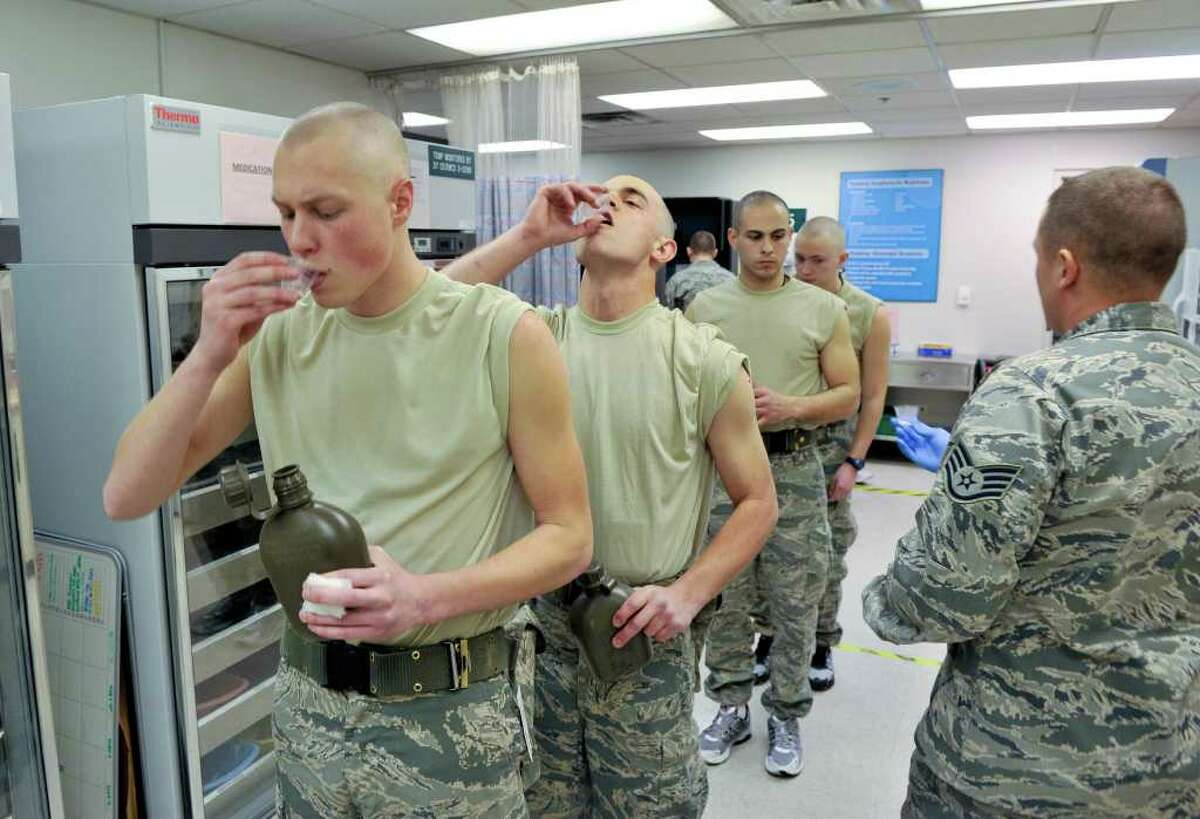SLUG: Adenovirus vaccine-Photo Request number 56591-Feb. 24, 2012-San Antonio, Texas-Air Force trainee's at Lackland Air Force base are being given the Adenovirus vaccine which has significantly decreased upper respiratory illnesses.