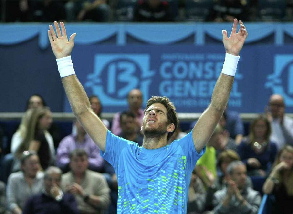 Argentina's Juan Martin Del Potro celebrates beating France's Michael Llodra for the Open 13 tennis title in Marseille, France.