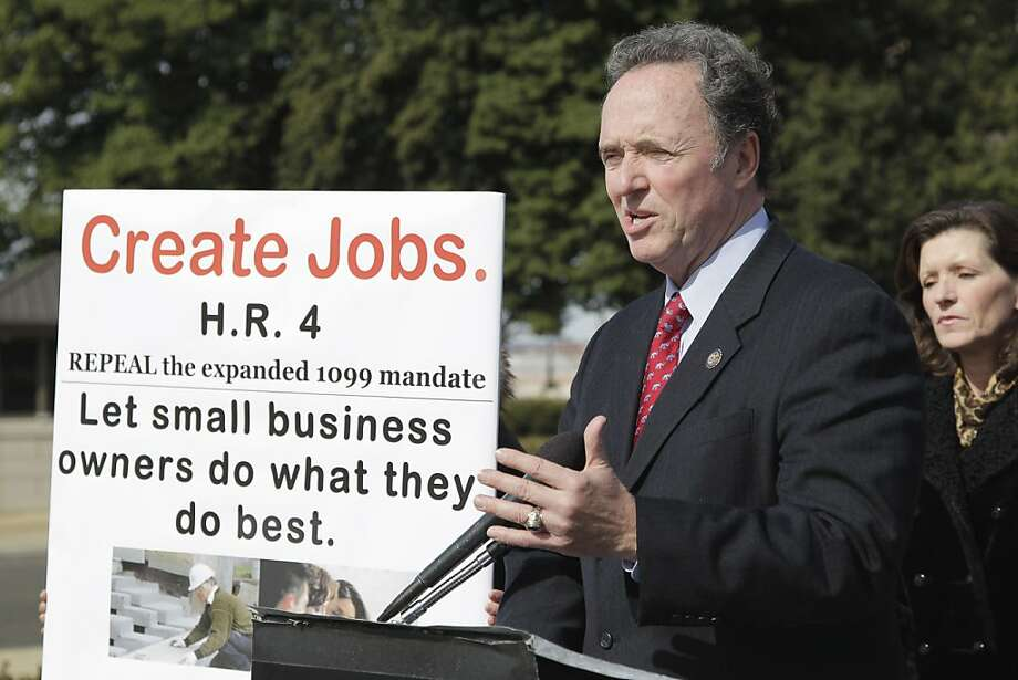 Rep. Dan Lungren, R-Calif. gestures during a news conference on Capitol Hill in Washington, Thursday, March 3, 2011, to discuss the Small Business Paperwork Mandate Elimination Act, being debated in the House. Photo: J. Scott Applewhite, AP