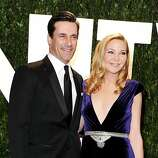 WEST HOLLYWOOD, CA - FEBRUARY 26:  Actors Jon Hamm (L) and Jennifer Westfeldt arrive at the 2012 Vanity Fair Oscar Party hosted by Graydon Carter at Sunset Tower on February 26, 2012 in West Hollywood, California.  (Photo by Pascal Le Segretain/Getty Images)